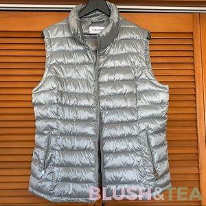 Calvin Klein Puffer Vest in Metallic Silver